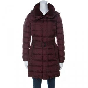 Burberry Brit Burgundy Down Filled Shearling Collar Winterleigh Puffer Coat S