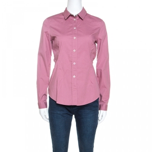 Burberry Brit Pink Stretch Cotton Button Front Shirt S - used