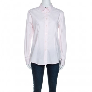 Burberry Light Pink Stretch Cotton Button Front Shirt L - used