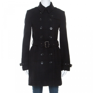 Burberry Black Wool Double Breasted Trench Coat S