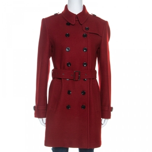 Burberry Brit Red Wool Blend Double Breasted Crombrook Coat M