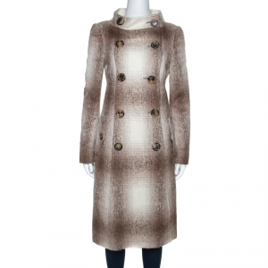 Burberry Beige And White Alpaca Wool Double Breasted Long Coat M