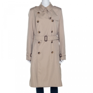 Burberry Beige Cotton Double Breasted Trench Coat L