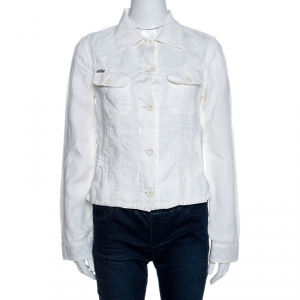 Burberry Off White Linen Pocket Detail Button Front Shirt S - used