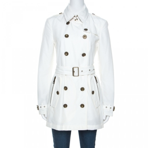 Burberry Brit White Double Breasted Brooksby Trench Coat M