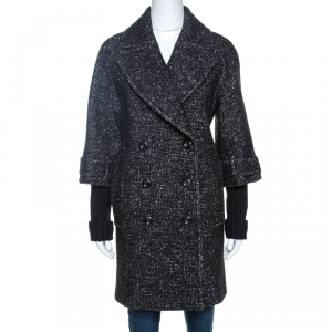 Burberry Black Tweed Wool Double Breasted Cocoon Coat S