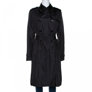 Burberry Black Nylon Double Breasted Raincoat M