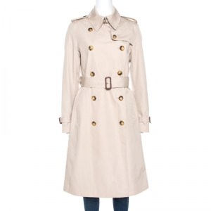 Burberry Beige Cotton Double Breasted Trench Coat M