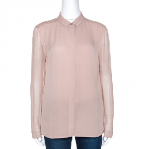 Burberry Taupe Silk Crepe Button Front Shirt M - used