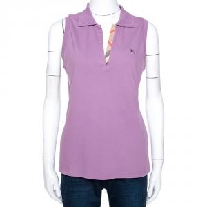 Burberry Purple Cotton Sleeveless Polo T-Shirt XL - used