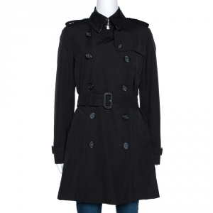 Burberry Black Cotton Double Breasted Trench Coat M