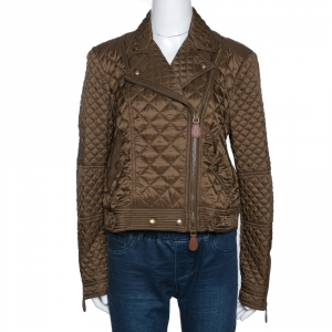 Burberry Military Green Quilted Synthetic Biker Jacket L