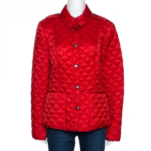Burberry Brit Red Synthetic Diamond Quilted Jacket L