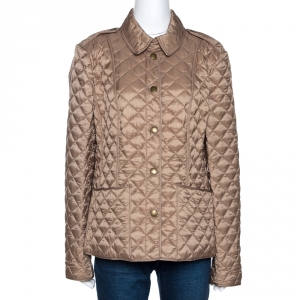 Burberry Brit Moss Beige Synthetic Kencott Quilted Jacket L