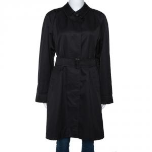 Burberry Black Cotton Blend Raglan Sleeve Belted Car Coat S