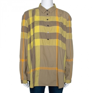 Burberry Brit Yellow Exploded Check Cotton Half Placket Shirt L - used