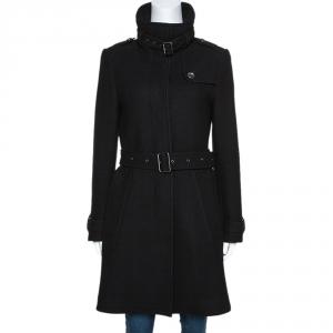 معطف بربري بريت رشوورث حزام مزيج صوف أسود S