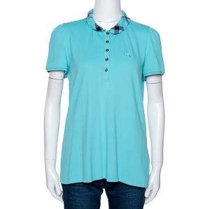 Burberry Brit Teal Blue Cotton Pique Ruffle Collar Polo T Shirt XL - used