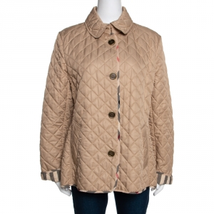 Burberry Brit Beige Synthetic Diamond Quilted Jacket XL