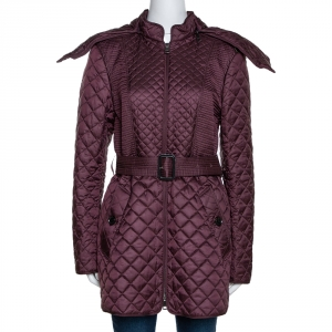 Burberry Burgundy Quilted Fur Lined Detachable Hood Detail Jacket M
