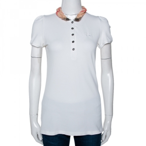 Burberry Brit White Cotton Checked Collar Polo T-Shirt S - used