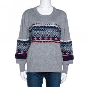 Burberry Grey Melange Wool Fair Isle Panelled Sweater M - used