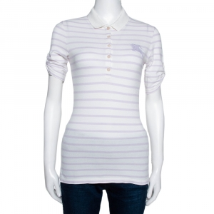Burberry Brit Off White Striped Cotton Modal Polo T-Shirt XS - used