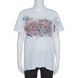 Burberry White Doodle Print Cotton Short Sleeve T-Shirt M - used
