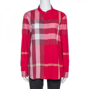 Burberry Red Cotton Nova Check Button Front Shirt XL - used