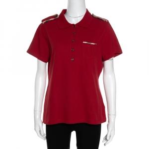 Burberry Brick Red Cotton Pique Shoulder Flap Detail Polo T Shirt XL - used