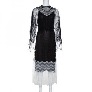 Burberry Color Block Tulle Fawne Midi Dress L