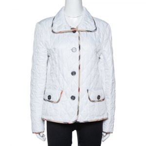 Burberry Brit White Diamond Quilted Button Front Jacket M