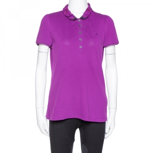 Burberry Brit Purple Cotton Ruffled Collar Polo T-Shirt M - used
