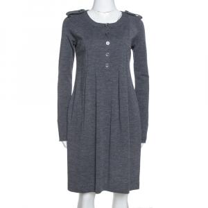 Burberry Grey Wool Pleated Knee Length Dress S