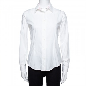Burberry White Stretch Cotton Button Front Shirt S - used