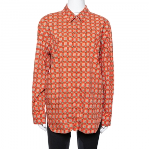 Burberry Red Tiled Archive Print Cotton Long Sleeve Shirt L