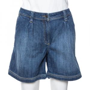 Burberry Brit Blue Denim Pinstone Carrot Leg Shorts L