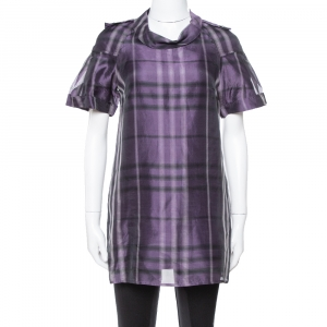 Burberry Purple Checked Silk Organza Tunic Dress S