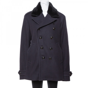 Burberry Navy Blue Wool Shearling Collar Double Breasted Coat XL