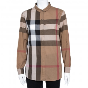 Burberry Brown Exploded Check Cotton Long Sleeve Shirt L