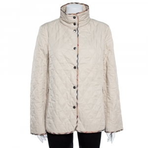 Burberry Cream Diamond Quilted Button Front Jacket L