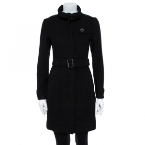 معطف بريري بريت صوف أسود مقاس صغير - سمول