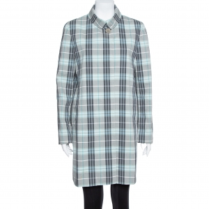 Burberry London Blue Cotton Nova Check Coat M