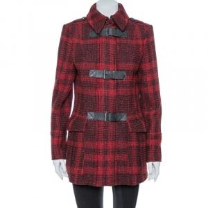 Burberry Brit Red & Black Tweed Buckle Detailed Coat M