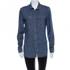 Burberry Blue Denim Button Front Long Sleeve Shirt M