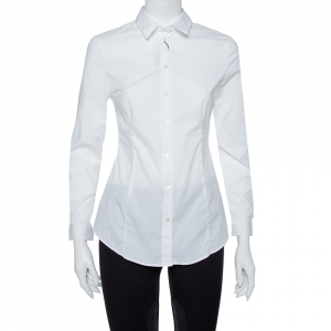 Burberry White Stretch Cotton Long Sleeve Shirt S