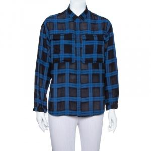 Burberry Brit Black& Blue Plaid Flannel Button Front Shirt M