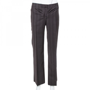 Burberry Vintage Brown Pinstriped Wool Classic Trousers S