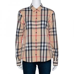 Burberry Brit Beige Nova Check Button Front Shirt M - used