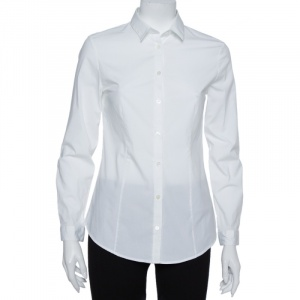 Burberry White Stretch Cotton Long Sleeve Button Front Shirt S - used